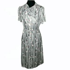Three R's Stripe Space Dye with Leaf Print Dress